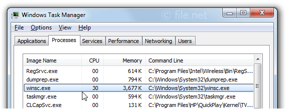 Windows Task Manager with winsc