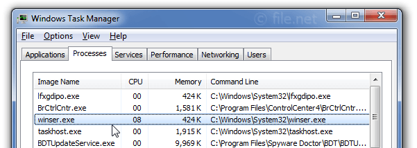 Windows Task Manager with winser