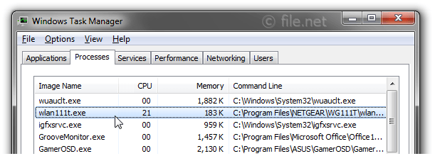 Windows Task Manager with wlan111t