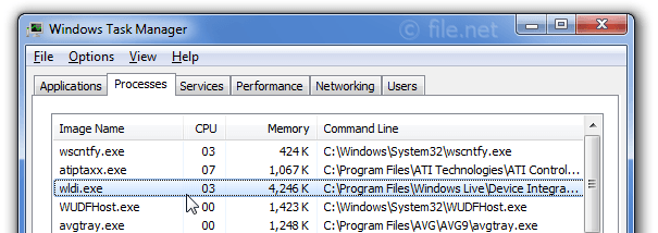 Windows Task Manager with wldi