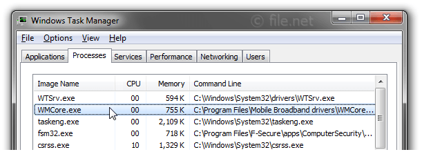 Windows Task Manager with WMCore
