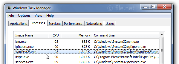 Windows Task Manager with WmiPrvSE
