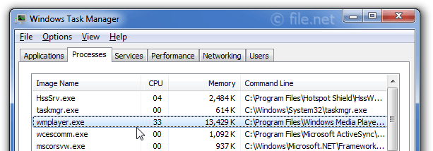 Windows Task Manager with wmplayer