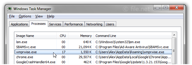 Windows Task Manager with wmprwise