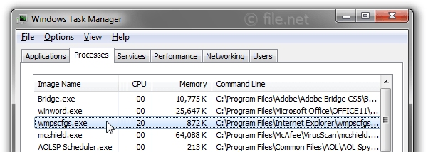 Windows Task Manager with wmpscfgs