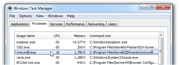 Windows Task Manager with wmrundll
