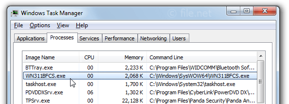 Windows Task Manager with WN311BFCS
