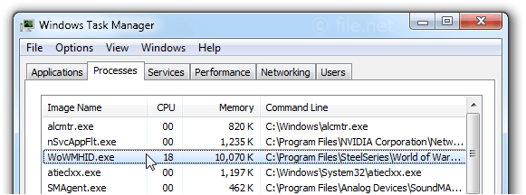 Windows Task Manager with WoWMHID