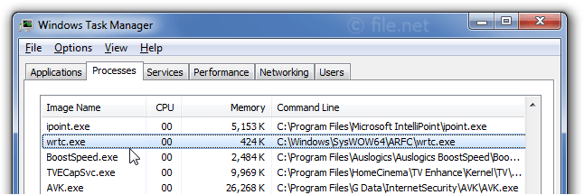 Windows Task Manager with wrtc