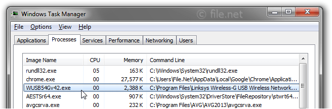 Windows Task Manager with WUSB54Gv42