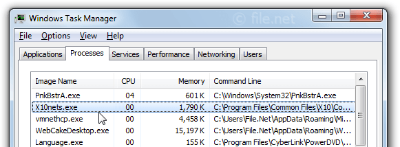 Windows Task Manager with X10nets