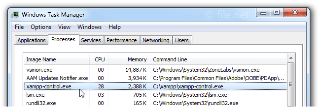 Windows Task Manager with xampp-control