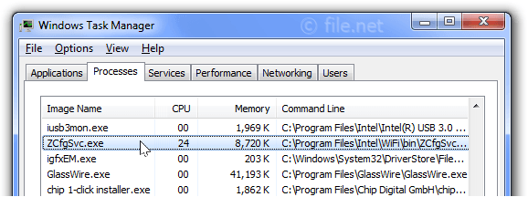 Windows Task Manager with ZCfgSvc